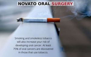 An oral-cancer-causing cigarette lying on a ledge, with text - Novato, CA